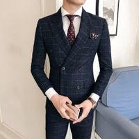 vestido de moda coreano para homens venda por atacado-Terno terno versão coreana do auto-vestir tendência de moda casual de negócio treliça casuais double-breasted dos homens