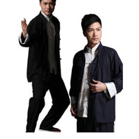 Wholesale taiji clothing online - 2015 New mans Chinese tang suit black blue Kung Fu suits Bruce clothes Wing Chun taiji tai chi clothing set costume for men