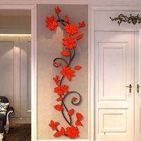 duvarlar için vinil desal çiçekler toptan satış-3D DIY Vazo Çiçek Ağacı Çıkarılabilir Sanat Vinil Duvar Sticker Çıkartması Duvar Ev Dekorasyonu Ev Yatak Odası Dekorasyon Için Sıcak Satış