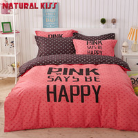 Wholesale boys queen sized bedding online - Adult kids bedding set Red Happy boys girls quilt duvet cover bed sheet cartoon pattern bedspread queen twin size bed linen