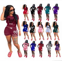 Wholesale zebra love - PINK Ripped Holes Shorts Outfit Tracksuit Set LOVE PINK 2pcs Short Sleeve T Shirt Ripped Shorts Sportswear Jogging Suit Casual Clothing