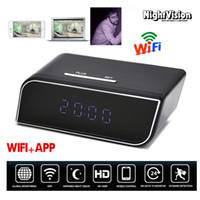 Wholesale alarm clock hidden camera dvr - HD 720P Wireless Spy Hidden Camera WiFi IR Clock Camera Night Vision Alarm DVR with Motion Detection Security Nanny Cam P2P IP Recorder