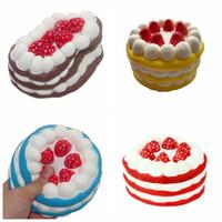 kırmızı kekler toptan satış-12 cm Squishy Kek Çilek Parfüm Kremi Pembe Sarı Kırmızı Kahve Mavi Fidget Oyuncak Jumbo Dekor yavaş çocuklar için Yükselen Squishies çocuklar hediye