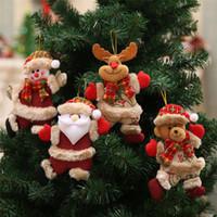 cadeau natal achat en gros de-2018 joyeux noel noel noel cadeau santa bonhomme de neige arbre jouet poupée pendre décorations pour maison Enfeites De Natal