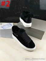 Wholesale light brown wedges - Fashion Alexander Oversize McQueens Leather Sneaker Fucha Velvet Low Top Lace Top Wedge Sneaker Shoes Sole Runner Sneakers With Box