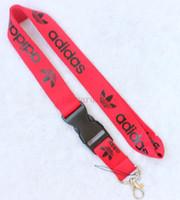 rote lanyards großhandel-Lot Kleidung Marke Rote und schwarze Gitarrengurte Lanyard ID Badge Holders Mobile Neck Schlüsselanhänger