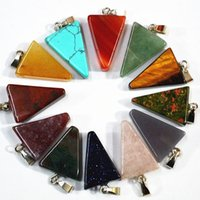 Wholesale Cherry Quartz - fashion natural onyx cherry Pink quartz stone pendants charms triangle arrow for necklace making