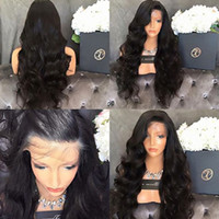 Wholesale Sexy Women Wig - New Sexy Brown Black Body Wave Long Wigs with Baby Hair Heat Resistant Gluelese Synthetic Lace Front Wigs for Black Women