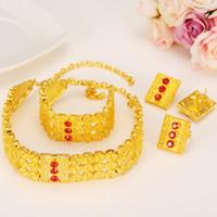 ingrosso regali interi-intero salegold etiope set gioielli africani girocolli collana braccialetto orecchino anello set eritrea habesha nuziale gioielli da sposa regalo del partito