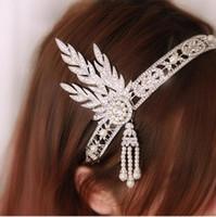 büyük gatsby kılı toptan satış-Kristal Inci Şerit Bantlar Vintage Gelin Great Gatsby Sineklik Rhinestone Hairband Moda Saç Aksesuarları Takı Bırakır