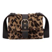леопардовый мех оптовых-Fashion Famous Designer  Small Women Fake Animal Fur Handbags Leopard Buckets Shoulder Bag CrossBody Messenger Bags
