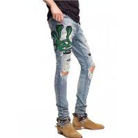 kot pantolon l toptan satış-2018 Yüksek kalite Erkek kot Sıkıntılı Motosiklet biker jeans Kaya Sıska Ince Ripped delik şerit Ünlü Marka Denim pantolon Tasarımcı kot