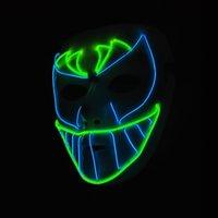 neonlicht dekor großhandel-Hanzi_masks EL Draht Glühende Maske Party Maske LED Neon leuchten Neon Maske Für Halloween Party Scary Party Sie Cosplay Decor