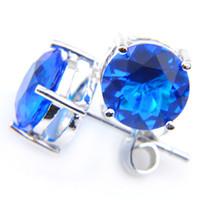 blauer zirkon ohrstecker großhandel-Silberner eleganter blauer Kristallzircon-Ohrstecker des Feiertags-5Pair / Lot 925 8 * 8 Millimeter Frauen, die Ohr-Bolzen freies Verschiffen Wedding sind