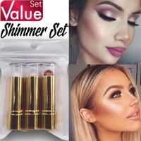 resaltador marrón al por mayor-Shimmer Set 3pcs / set Highlighter Bronzer Makeup para Face Light Beige Brown Beige Value Set a prueba de agua