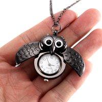 сова смотреть женщина оптовых-Женщины старинные карманные часы Кварцевые часы прохладный цепь симпатичные Сова крышка часы LXH