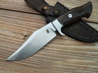 Wholesale knives leather handles - 1Pcs High End Bowie Blade Survival Straight Knife DC53 Satin Blade Linen Wood Handle With Leather Sheath Fixed Blade