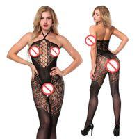 catsuit lingerie chaude achat en gros de-2018 nouvelles femmes sexy lingerie sexy vêtements de nuit chauds catsuit sans couture ouvert entrejambe opaque tatouage licol cou Bodystocking