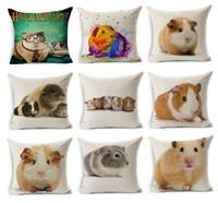 Wholesale Pets Pigs - Lovely Guinea Pig Cushion Cover Watercolor Cavia Porcellus Cute Pet Thin Linen Cotton Pillow Cover 45X45cm Bedroom Sofa Decoration