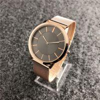 ince erkek saatler toptan satış-Reloj hombre siyah kol dropshipping 2019 yeni marka moda erkek altın İzle Ultra-ince Bilezik casual erkek tasarımcı saatler erkek saat