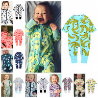Wholesale baby clothes bananas resale online - INS Baby Rompers Cotton Boy Pajamas Long Sleeve Baby Girl Jumpsuits Heart Banana Printed Pyjamas Baby Clothing Designs DHW1700