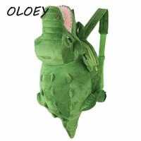grandes mochilas de peluche al por mayor-Kids Crocodile Plush Backpack Toddler Baby Cute 3D Bolsas de animales de dibujos animados Kindergarten Boy Girls Kawaii Big Tail Packs #