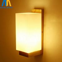 lámparas de madera chinas al por mayor-Novedad De madera cuadrado de vidrio moderno led interior chino lámpara de pared dormitorio luces interiores