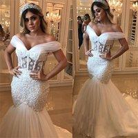 vestido de noiva de sereia desossada venda por atacado-Sexy sereia vestidos de casamento saudita exposta africano desossa fora do ombro vestido de noiva com pérolas apliques maiores beadings vestidos de noiva