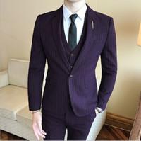Wholesale men s gray dress vests - S-6XL New Men Suits One-Buckle Brand Suits Jacket Formal Dress Men Suit Set Men Wedding Suits Groom Tuxedos (Jacket+Pants+Vest)