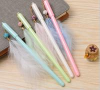 stylo plume de bureau achat en gros de-Usine directement stylo gel livraison gratuite 100pcs \ lot Nouveau pendentif de mode pendentif plume pour les étudiants stationnaire stylos bureau bureau26