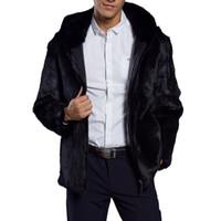 ingrosso cappotti lanuginosi neri-Cappotto con cappuccio in pelliccia sintetica soffice uomo 2018 Cappotto con pelliccia in pelliccia di lusso caldo e pesante invernale Plus size Cappotto con cappuccio uomo nero Cappotto con cerniera nera
