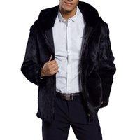 hombres con capucha de piel al por mayor-Hombres mullidos de piel sintética con capucha abrigo 2018 invierno gruesa caliente de lujo chaqueta de piel peluda más tamaño para hombre con capucha abrigos negro cremallera outwear