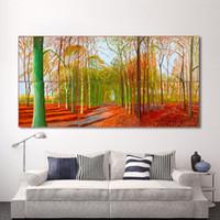 ağaç duvar resimleri toptan satış-1 Adet Oturma Odası Için Tuval Sanat Duvar Resimleri Orman Ağacı Boyama Woldgate Ormanda Cuadros Decoracion Ev Dekor Baskılı Çerçevesiz