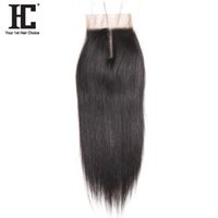 человеческие волосы закрытия кружева штук оптовых-HC Hair Products Straight Remy Hair 4x4 Middle Part Lace Closure 8-18inch Natural Color One Piece 100% Human Free Shipping
