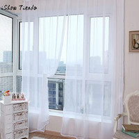 panel azul al por mayor-Cortinas modernas para la sala de estar Cortinas 1 unid Color puro Puerta de tul Cortina de la ventana Panel de cortina Pura bufanda Cenefas 200x100 cm