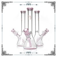 Wholesale borosilicate glass tubes - pink glass bong hello kitty Beaker bottom borosilicate water pipes waterpipe heady hookahs Straight Tube smoking Free Shipping