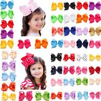 diseño de horquilla para niños al por mayor-16 colores bebé niña cany color gran arco barrettes diseño pelo bowknot niños Headwear niños horquilla niñas pinzas de pelo bebé accesorio para el cabello