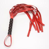 floggers de couro venda por atacado-Flertando chicote Floggers de couro genuíno com trançado Handle Role Play Lindo desfiado Spanking Whips kit de alta qualidade