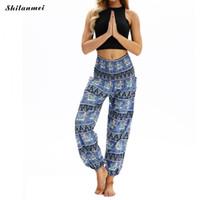 pantalon large à l'entrejambe achat en gros de-Nouvelle arrivée indien grand entrejambe pantalon large jambe pantalon femmes danse du ventre yoga pantalons longs été plage sport style ethnique