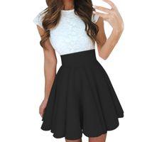 Wholesale girls pleated denim skirt for sale - Sexy School Girls Short Skirts Womens Black A Line Party Cocktail Mini Skirt Ladies High Waist Pleated Skater Skirt Saia Midi