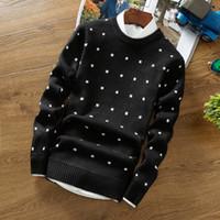 siyah pamuk toptan satış-Erkek Kazak Yün Kazak Erkekler Marka Giyim Casual O-Boyun Kazak Erkekler Nokta Desen Uzun Kollu Pamuk Gömlek Erkek Siyah Mavi M-2XL