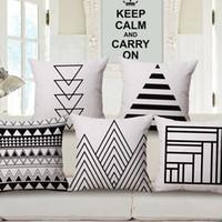 Wholesale Cm Hospital - Geometric pattern pillow case linen cotton soft pillow case sofa car decorative pillow case 45 x 45 cm