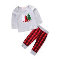 camiseta dos homens unisex venda por atacado-Unisex Toddler Kids Baby Boy Roupas de Árvore de Natal Top T-shirt Xadrez Manta 2 pcs Roupa Outfit Set