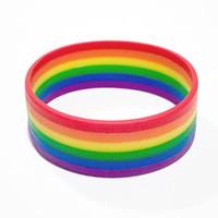 Wholesale rainbow rubber bracelets - 2018 new fashion Silicone Rainbow Pride Bracelet Mutilayered Rubber Gay Lesbian LGBT Wristband Jewelry