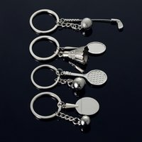 Wholesale badminton keychains - 100 pieces lot Sports exercise car key chain Badminton Golf Tennis Table tennis Keychains Metal Key rings Pendant
