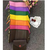 cortos de calidad al por mayor-Top calidad mujer hombre original caja de lujo de cuero real multicolor cartera corta Portatarjetas clásico con cremallera bolsillo Victorine