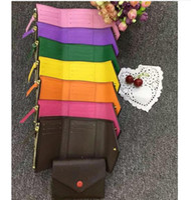 Wholesale luxury pink wallet online – custom top quality women man original box luxury real leather multicolor short wallet Card holder classic zipper pocket Victorine