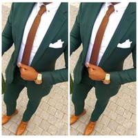 ingrosso piccola cravatta nera-2019 Hunter Green Wedding Men si adatta a due pezzi dello smoking dello sposo con risvolto Risvolto Trim Fit Uomo vestito da festa Custom Business Formal Wear (Jacket + Pants)