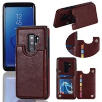 Wholesale shockproof flip phone - Folio Leather Wallet Slim Case Flip Phone Cover Magnetic Shockproof Protective Defender Shall Card Slot For Samsung S7 S7 EDGE S8 S9 PLUS