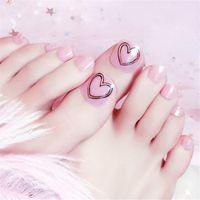 ingrosso adesivi cuore rosa-24PCS Pink Heart Toe Nail Sticker Decal per tatuaggio temporaneo Trasferimento dell'acqua Sticker Toenail Nail Art Decalcomanie
